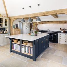 Open Plan Kitchen with Large Island Kitchen Family Rooms, Living Room Kitchen, Home Decor Kitchen, New Kitchen, English Cottage Kitchens, English Cottage Interiors, Kitchen Cabinet Colors, Kitchen Layout, Kitchen Design