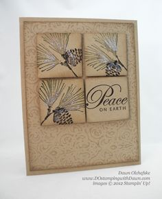 winter card in neutrals...like the four square inchie block with stamping in different directions and the sentiment in one block...