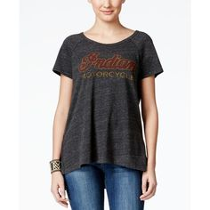 Lucky Brand Jeans Short-Sleeve Graphic T-Shirt ($40) ❤ liked on Polyvore featuring tops, t-shirts, charcoal, graphic print t shirts, charcoal t shirt, short sleeve graphic tees, graphic design tees and short sleeve t shirt