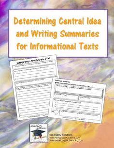 "New Blog Post: ""Attacking the Common Core Standards"" – Informational Texts – Part Four: Determining the Central Idea; Providing an Objective Summary PLUS FREEBIE"