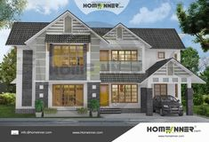 5200 sq ft 5 Bedroom House Photos in Kerala Style Online Home Design, 3d Home Design, Villa Design, 5 Bedroom House Plans, Interior Design And Construction, Free House Plans, Kerala House Design, Kerala Houses, Storey Homes