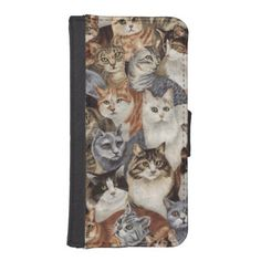 Retro Whimsical Cat Floral iPhone 5 Wallet Case