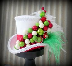 Hey, I found this really awesome Etsy listing at https://www.etsy.com/listing/172994418/christmas-mini-top-hat-red-and-green