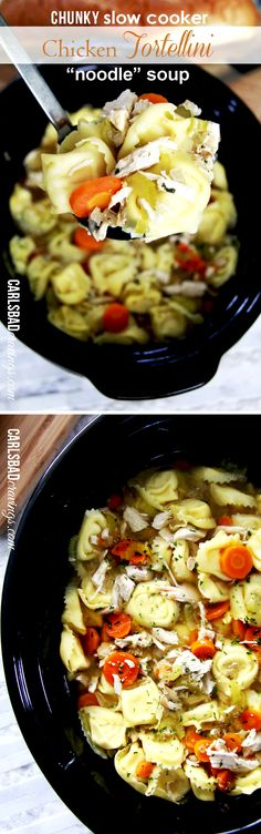 "Chunky Slow Cooker Tortellini Chicken ""Noodle"" Soup. ~ As EASY as throw the ingredients in the crockpot! Chicken noodle soup made so MUCH MORE delicious with TORTELLINI!"