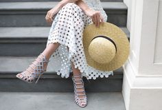 I told you it was straw hat season. That plus the baby blue heels & white lace skirt? Ugh...LOVE!