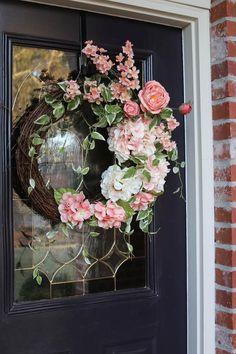 Elegant Front Door wreath with Hydrangeas, Year Round wreath with roses, Farmhouse wreath, Front Doo Double Door Wreaths, Spring Front Door Wreaths, Fall Wreaths, How To Make Wreaths, Easter Wreaths, Christmas Wreaths, Diy Wreath, Grapevine Wreath, Wreath Ideas