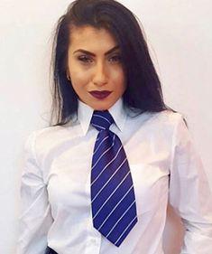 Preppy Style, Preppy Fashion, Womens Fashion, Dressy White Blouses, School Girl Dress, Women Ties, Collar Blouse, White Shirts, Pretty Woman