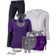 Purple & Silver, created by anna-campos on Polyvore