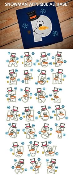 Our Snowman Applique Alphabet is a super cute alphabet, perfect for personalizing pieces for your little ones! Available for instant download at www.designsbyjuju.com