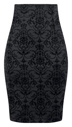 High Waisted Damask Pencil Skirt