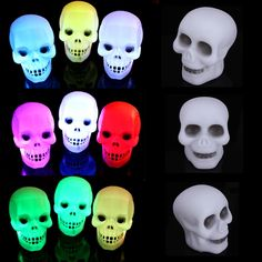 5Pcs Colorful Flash LED Skull Night Light Lamp Party Halloween Decoration Gift