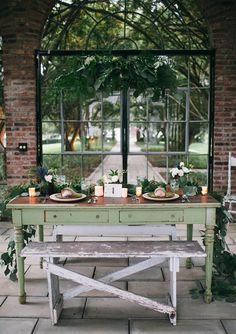 Wedding Receptions, Reception Decorations, Wedding Table, Porches, Fresco, Terrarium Wedding, Beautiful Home Gardens, Greenhouse Wedding, Green Table
