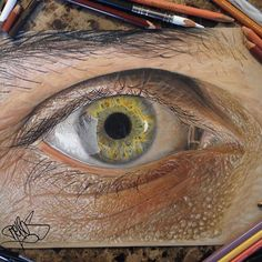 """Texas-based artist Jose Vergara (a. Redosking), a self-described """"graffiti artist with a Medieval heart,"""" brings colored pencil art to a higher level. The artist uses them to create impressively realistic drawings. Realistic Pencil Drawings, Realistic Paintings, Art Drawings, Amazing Drawings, Beautiful Drawings, Graffiti, Eye Illustration, Colossal Art, Coloured Pencils"""