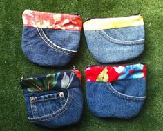 Pocket purses made out of front pockets of re-purposed jeans. No tute but the pics are cute!