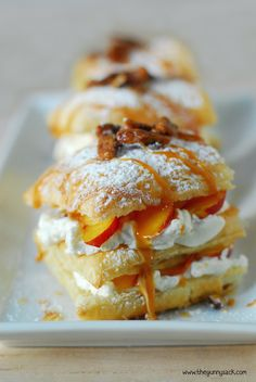 Layers of flaky pastry and rich cream are highlighted by juicy fruit, salted caramel, and candied pecans for an elegant look and delicious flavor! Try this super-easy Peach Napoleon with Maple Whipped Cream tonight!