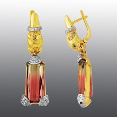 """earrings. Stones diamonds, Emerald, Tourmaline. Material Gold 750 from contemporary Moscow jewelry company """"Master R.O.S.S.I.I."""" (""""Master of Russia"""")"""