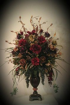 Tuscan design – Mediterranean Home Decor Large Flower Arrangements, Silk Floral Arrangements, Floral Centerpieces, Wedding Centerpieces, Wedding Table, Foyer Decorating, Tuscan Decorating, Decorating Ideas, Decor Ideas