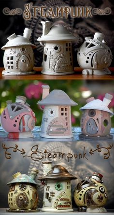Small steampunk fairy houses before glazing, after glazing and after … – keramik – Ceramic Clay Houses, Ceramic Houses, Ceramic Birds, Paper Clay, Clay Art, Polymer Clay Fairy, Polymer Clay Projects, Polymer Clay Steampunk, Clay Fairy House