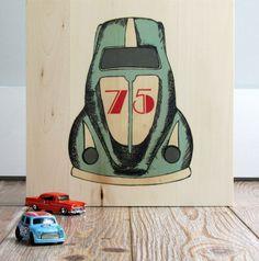 Vintage style  toy car print on wood panel.  Screen print on wood. Kids art work.  Room Decor.. $35.00, via Etsy.