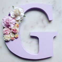 Items similar to Flower letters, floral letters, nursery decor on Etsy Flower Letters, Diy Letters, Felt Letters, Girl Nursery, Nursery Decor, Nursery Letters Girl, Craft Gifts, Diy Gifts, Flower Mobile