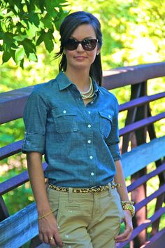 don't like most such combos, but these colors are right. chambray shirt + khaki pants + statement belt