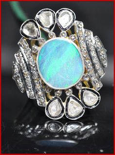 """""""Twinkley"""" Price: $450    6.25ct ROSE/UNCUT DIAMOND OPAL VICTORIAN SILVER RING♥    Signature Victorian Collection....known for its international taste and appeal!    Imported, world-class quality, not pre-owned, not pawned, not stolen. WE DELIVER WORLDWIDE ♥"""