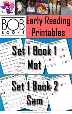 BOB Books Printables: Set 1 Book 1 Mat & 2 Sam - A new Printable set that is coming from 6 different bloggers: Rockabye Butterfly, Royal Baloo, In Lieu of Preschool, Walking by the Way, This Reading Mama and 3 Dinosaurs. We are working together to put out printables for the BOB Books. Over the next few months these will be a great resource for your little ones to use with the books.  We are starting with Bob Books, Set 1: Beginning Readers and each week you will find a new set of printables.