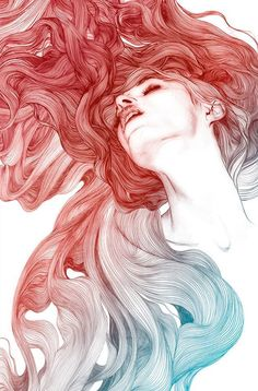 Gabriel Moreno's Illustrations https://www.facebook.com/GabrielMorenoIllustrations - I feel it has a strong diagonal composition because of the direction of the strokes that make up the hair, the color becoming more vibrant next to the absence of color in the face creating a focal area in the upper right (rule of thirds seems to be used here as well)