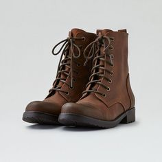 AE Lace-Up Boot ($35) ❤ liked on Polyvore featuring shoes, boots, brown, brown lace up boots, brown boots, american eagle outfitters shoes, front lace up boots and brown lace up shoes