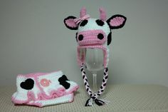 Baby Girl Cow Outfit Photo Prop Pink Cow Diaper by FrommMeToYou