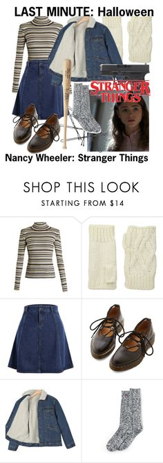 """Last Minute Halloween: Nancy Wheeler"" by nothing-better-than-a-riddle ❤ liked on Polyvore featuring Chloé, San Diego Hat Co., Dr. Martens, Lands' End and vintage"
