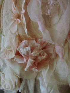flora dtl | Flickr ~ love the ribbon, organza and tattered flower combination ~❤