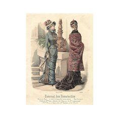 Hand Colored French Lithographic Print, Mode de Paris, Journal des Demoiselles, #4234, Parisian Women in Period Costumes