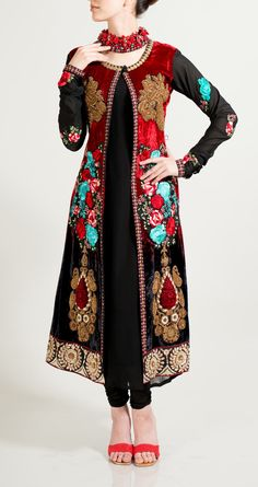 velvet regally embroidered Long coat set