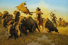 """Limited Edition PrintImage size:21 1/2""""""""w x 14 3/8""""""""h.Edition Size: 550Native Americans would often try to break up a herd into smaller groups because riding into a large herd is difficult. Then th"""