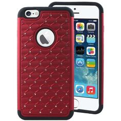 Apple iPhone 6 6S IMPACT XB Bling Hybrid Case, Red ($9.95) ❤ liked on Polyvore featuring accessories and tech accessories