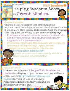 Mindsets in the Classroom Book Study Chapter 8 – Helping Students Adopt a Growth Mindset  - Links, downloads, and resources for the classroom