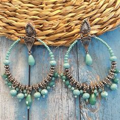 Concha aretes naturaleza pedrería de color verde azulado ohrhänger perú nuevo Handmade