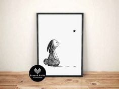 BUNNY and LITTLE STAR Poster Limited edition wall art gallery black and white hand drawn Bunny Sketches, Have A Safe Trip, Rabbit Drawing, Baby Boy Room Decor, Star Baby Showers, Minimal Decor, Black And White Illustration, Affordable Art, Little Star