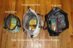 Thirty-One Purse size comparison (Demi is discontinued) Casual Cargo and Cindy are still hot items! Thirty One Party, Thirty One Gifts, 31 Party, Thirty One Purses, Nurse Bag, Thirty One Consultant, 31 Gifts, 31 Bags, Military Discounts