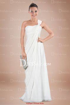 Ethereal One-shoulder Floor-length Column Bridal Gown with Scattered Sequins