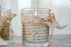 Shabby Chic Votive Candle - French Script  - Hand Stamped and Tied with Vintage Dyed Ribbon via Etsy