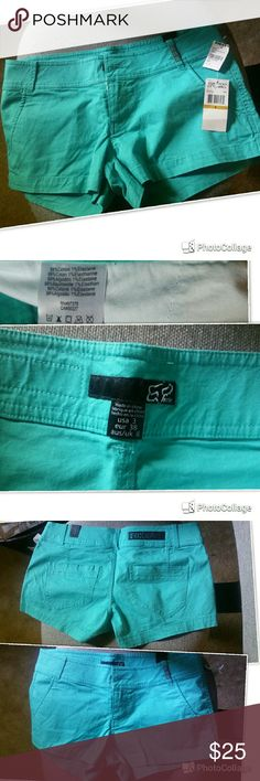 Fox shorts turquoise No modeling cannot get these past my thighs they belong to my sister she never wore them. Great condition as they are new. Fox Shorts