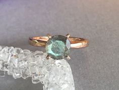 Natural Labradorite Ring Rose Gold Hammered by SimplySilvery