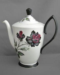 "Royal Albert, vintage china tea pot, 19cm (7.5"") tall, Masquerade black c1950s"