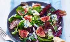 I'm checking out a delicious recipe for Fig and Gorgonzola Salad from Kroger! Gorgonzola Salad Recipe, Gorgonzola Cheese, Dried Figs, Fresh Figs, Salad Recipes, Keto Recipes, Healthy Recipes, Healthy Food, Salad Shop