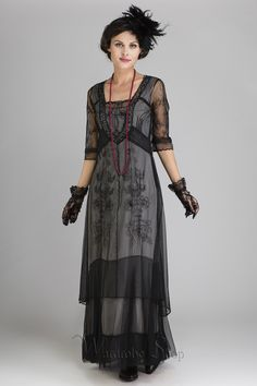 Edwardian Victorian Evening Dresses Victoria Vintage Style Party Gown in Black by Nataya $290.00 AT vintagedancer.com