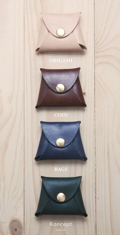 ORIGAMI coin bags made from Italian vegetable tanned leather