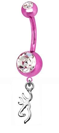 Southern Sisters Designs - Browning Charm Belly Ring Pink Titanium, $18.95 (http://www.southernsistersdesigns.com/browning-charm-belly-ring-pink-titanium/)