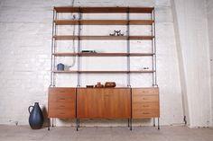 XL Omnia String Regalsystem, Teak/Metall - 1960er - Hans & Hans